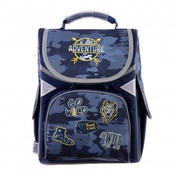 Ранец стандарт gopack 5001s, 34 х 26 х 13, для мальчика, adventure, синий