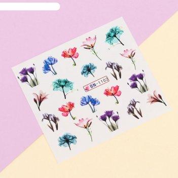 Наклейки для ногтей водные «цветочная нежность»