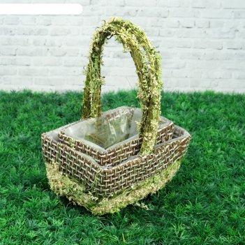 Набор корзин «цветочный бантик», 2 шт, 20x16x10/28 см, 17x11x9/25 см, трав