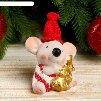 Сувенир керамика мышонок в полосатом свитере с ёлочкой 8,5х5,2х7 см