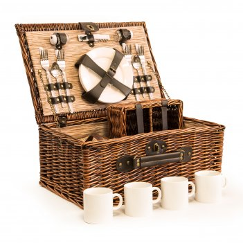 Пикниковый набор в корзине на 4 персоны цвет шоколад серия люкс