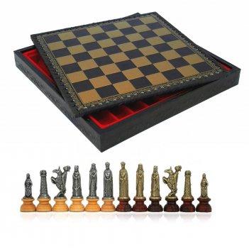 Шахматы 35х35 lotario 6-8см от italfama (дерево, кожа, бронза, олово)