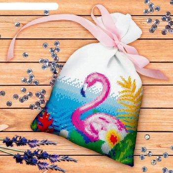 Вышивка крестиком на мешочке фламинго