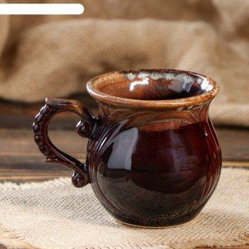 Чашка кофейная арго коричневая, 300 мл, керамика