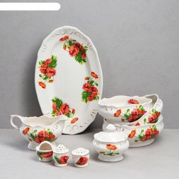 Сервиз чайный 9 предметов цветы  микс