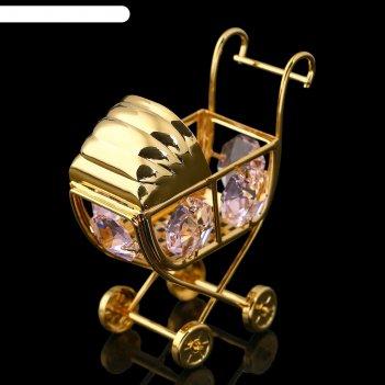 Сувенир детская коляска с хрусталиками сваровски