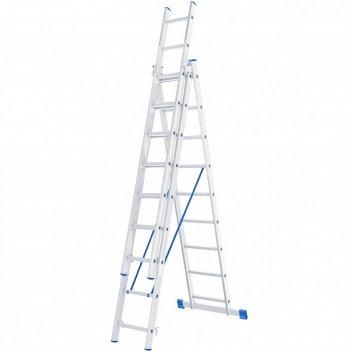 Лестница шарнирная 97819, алюминиевая, трехсекционная, 3х9 ступеней