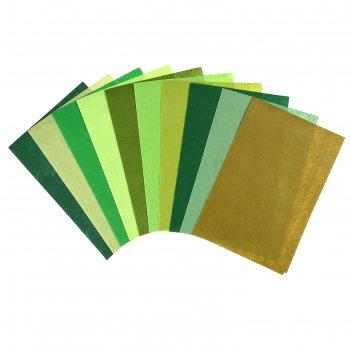 Фетр оттенки зелёного жёсткий, 1 мм (набор 10 листов) формат а4