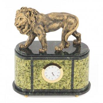 Часы лев змеевик мрамолит 245х135х280 мм 5200 гр.