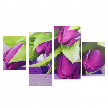Модульная картина на подрамнике фиолетовые тюльпаны, 2 — 30x45, 1 — 29,5x6