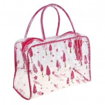 Косметичка-сумочка банная лес, 2 ручки, цвет малиновый