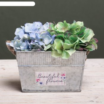 Металлическое кашпо для цветов beautiful flowers, 18 х 11 х 11 см
