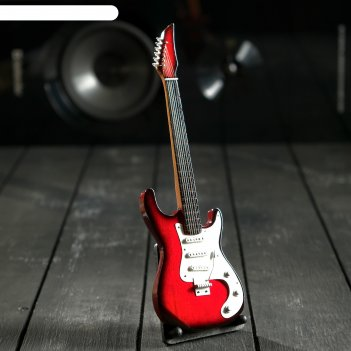 Гитара сувенирная ibanez красно-белая, на подставке 24х8х2 см