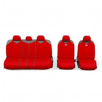 Чехол-майка autoprofi r-1 sport plus zippers r-902pz rd, закрытое сиденье,