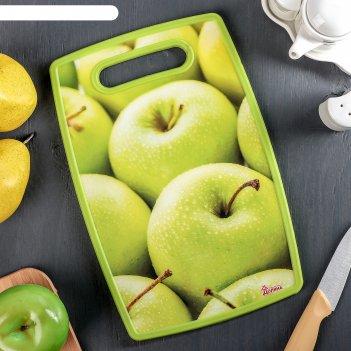 Доска разделочная прямоугольная 30х20 см яблоки