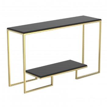Консоль designo ножки металл золото столешница черная, 130х35х78см