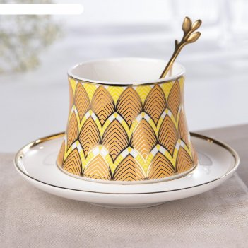 Кофейная пара «золотой лист», чашка 200 мл, блюдце d=14 см, ложка, цвет жё