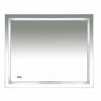 Зеркало 2 неон -  led 1000х800 сенсор на зеркале + часы (двойная подсветка