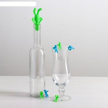 Набор для бутылок человечки, 7 предметов: пробка для бутылки, 6 маркеров д
