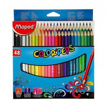 Карандаши трёхгранные, 48 цветов, maped color peps, ударопрочный грифель