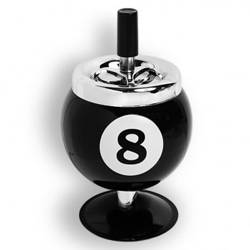 Пепельница бильярдный шар №8 (на подставке)