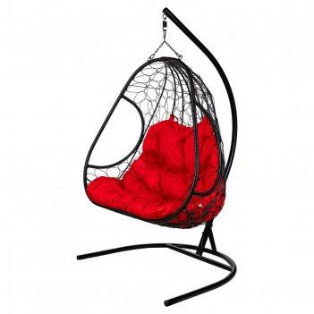 Двойное подвесное кресло primavera black, красная подушка