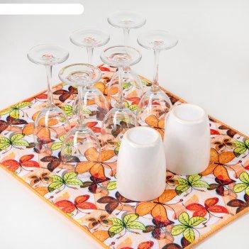 Коврик для сушки посуды 38x50 см бабочки
