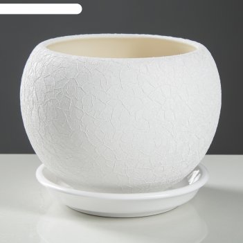 Горшок шар 1,4л шелк белый