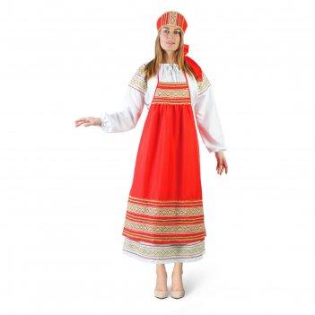 Русский женский костюм пелагея, платье, красный фартук, кокошник, р. 48-50