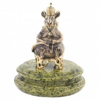 Сувенир крыса-король змеевик бронза 110х110х130 мм 890 гр.