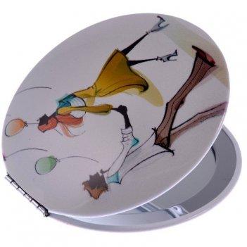 Зеркало ec mr 021 компактное в металл корпусе, круглое
