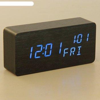 Часы электронные кержан, настольные, синие цифры, 15х7 см