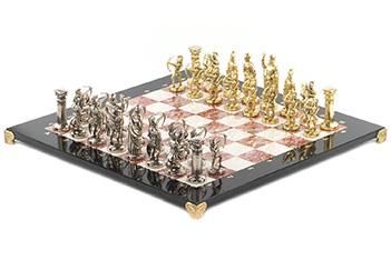 Шахматы лучники доска 450х450 мм мрамор креноид металл