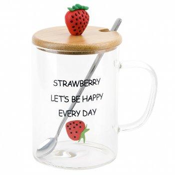 Кружка стеклянная с крышкой и ложкой strawberry v=450мл. (4вида) (подарочн
