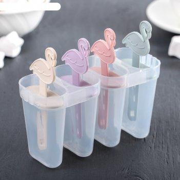 Форма для мороженого «фламинго», 14,5x12x5,5 см, 4 ячейки, цвет микс