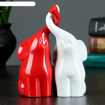 Фигура пара слонов белый/красный глянец 9х14х16см