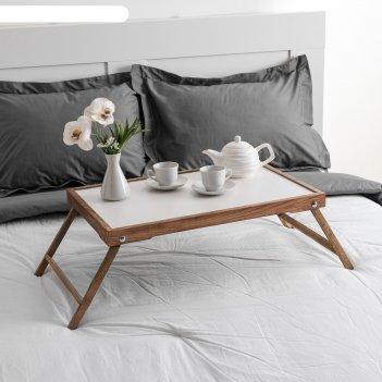 Столик для завтрака ренессанс, 60х40 см, массив ясеня, цвет темный орех