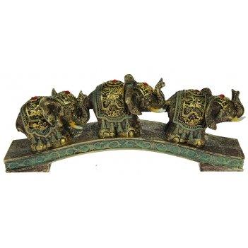 Фигурка декоративная три слона 20*5*8см