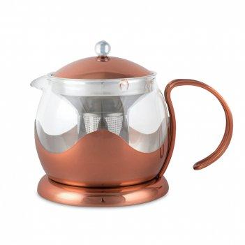 Чайник заварочный , объем: 1,2 л, материал: стекло, нержавеющая сталь, сер