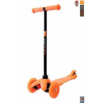 Самокат y-scoo rt mini shine a5 orange светящ. колеса (от 2 лет, до 30 кг)