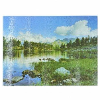 Доска разделочная (стекло) 20*30*0,5см. горная река (рифленая) (термоусадо