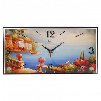 Часы настенные, серия: море, причал, 19х39 см