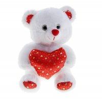 Мягкая игрушка мишка белый на сердце маленькие сердечки 15 см