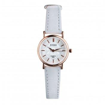 Часы наручные женские алецио, d=2.5 см, белый ремешок