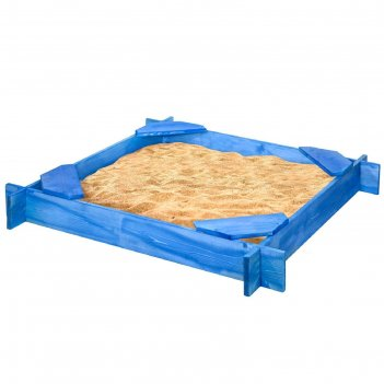 Песочница деревянная «тритон», 120x120x14 см, 4 сидения, пропитка, синяя