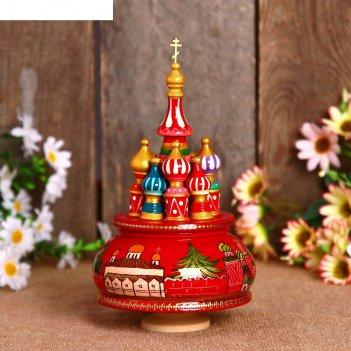 Сувенир-шкатулка музыкальная храм. россия, 19х15,5 см