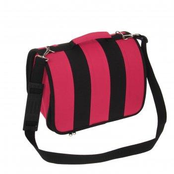 Сумка-переноска каркасная, складная, розово-черная, 31 х 20,5 х 22 см