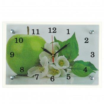 Часы настенные, серия: кухня, яблоко, 20х30  см, микс