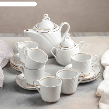 Сервиз чайный голубка. бомонд, 14 предметов: чайник 1 л, 6 чашек 220 мл, 6