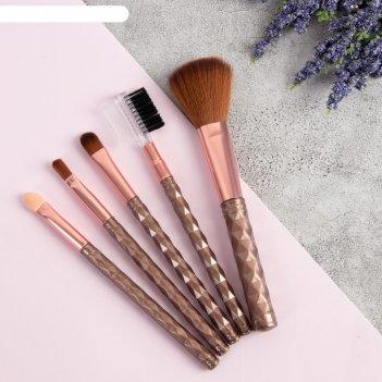 Набор кистей для макияжа, 5 предметов, цвет коричневый/розовый